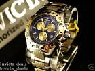 Invicta Men's Racer Swiss Quartz Chronograph Blue Dial Knurled GP SS Watch-RARE