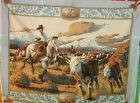 1 Yd Western Cowboy Quilt Fabric Wall Hanging Panel Rodeo Steers Blue Denim Loo