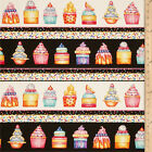 Northcott Sweet Things Cupcakes Border Repeating Stripe Cotton Fabric BFabric