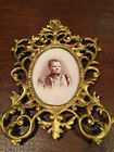Antique 1890's VICTORIAN ROCOCO CAST BRASS OVAL PICTURE FRAME w/ Original Photo