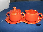 Fiesta SUGAR with Lid and CREAMER 4 Piece TRAY SET --New Never Used  -PAPRIKA