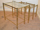 Vintage Hollywood Regency Mid century Gold Brass Faux Bamboo Nesting Tables