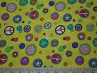 Bright Yellow Fabric 5pc (34x44) peace heart flower groovy circle dot colorful n