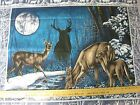 Moonlight Deer Wallhanging Quilt panel fabric 2 @ 35x44  buck Blue While silver