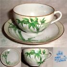 60yr Crown logo OCCUPIED JAPAN green BAMBOO TREE FLORAL CUP & SAUCER no damage