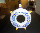 HAND PAINTED REDWARE EUROPEAN FOLK ART POTTERY RING/DONUT FLASK BLUE GOLD WHITE