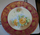 Antique PT Bavaria Terschenreuth hand painted yellow rose plate  8.75 inch