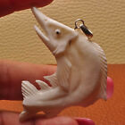 HAND CARVED FISH NATURAL BUFFALO BONE 100% SOLID 925 STERLING SILVER PENDANT 2
