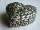 large solid silver persian indian heart shaped box