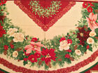 A HOLIDAY FINERY CHRISTMAS MANTEL CLOTH OR TREE SKIRT COTTON FABRIC PANEL