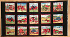 A VINTAGE TRACTORS ON THE FARM BLOCKS COTTON QUILTING FABRIC PANEL