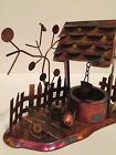 Vintage Wishing Well Copper Metal Brass Tin Sculpture Wind Up Music Box Works