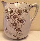 Vintage Brown Transferware Pitcher For Washbasin  Large Flowers Lotta. Pottery