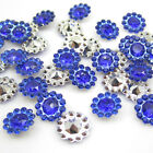 50PCS plastic crystal round sunflowers Appliques craft Wedding decoration Blue