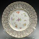 Lovely Antique 19c. Dresden Decorated Porcelain Reticulated Plate Gold Gilt
