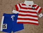 Ralph Lauren infant boys 2 pc rugby style shorts  shirt outfit 3 mo MSRP 55
