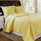 NEW SOFT LARGE QUEEN/FULL SIZE QUILT~STANDARD SHAMS~SOLID YELLOW~DIAMOND PATTERN