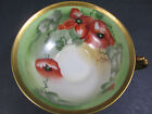 Limoges France Coronet Porcelain HP POPPY MAVALEIX Tea Cups Artist Signed BARBOT