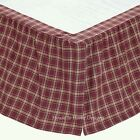 BURGUNDY RED PLAID Twin Queen King BEDSKIRT : TAN COUNTRY CHECK RUFFLE BED SKIRT
