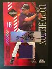 2003 LEAF LIMITED TODD HELTON #124 AUTO JERSEY 4 5 GAME USED MONIKER WORN