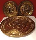 3 Vintage Stamped Metal Plate - Decorative Brass Wall Hanging - Made in England
