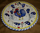 Blue Yellow White ITALIAN Majolica ROOSTER Barn French COUNTRY Salad PLATE Italy