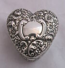 Anitque 1896 Gorham Sterling Silver Repousse Floral Heart Shaped Trinket Box