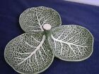 BORDALLO PINHEIRO PORTUGAL LEAF CABBAGE POTTERY DIVIDED  SERVING DISH