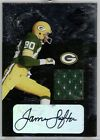 James Lofton Packers Auto Game Used Jersey Patch 2005 Donruss Leaf Limited 11 25