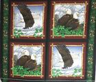 Bald Eagle Overlook Pillow Panel 12 tops Fabric bird feather mountain wild 3yd n