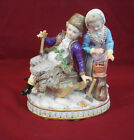 Antique Meissen Porcelain Figurine Man & Woman Collecting Firewood/Sled/Axes
