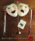 Vintage Clay Art Musical Mask Happy Sad Face Thespian with Roses