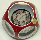 1971 Saint St Louis France Millefiori Star Red Overlay Art Glass Paperweight