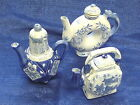 LOT (3) HAND PAINTED TEAPOTS OIL PITCHERS BLUE ON WHITE CHINA PORCELAIN W/LIDS