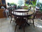 SET OF 4 SOLID MAPLE WINDSOR ETHAN ALLEN CHAIRS & OAK BALL & CLAW LION TABLE NR