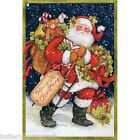 Christmas Santa with Pack  Cotton Fabric Panel