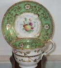Antique Early 19th C Copeland Spode Porcelain Cup & Saucer Green & Gold w Fruit