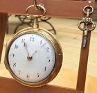 1790's English Verge Fusee Gold Gilded Case Pocket Watch By Tho's Hunter, London