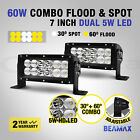 BEAMAX 2X 7INCH 60W LED LIGHT BAR FLOOD WORK SPOT OFFROAD LAMP 12V 4X4 4WD 120W