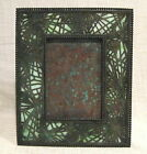 Tiffany Studios Pine Needle 9 1 2 Picture Frame with Green Slag Glass