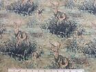 Dick Idol 2010 Buck & Doe Deer Fabric BTY yd cotton brown tapestry look sew NEW