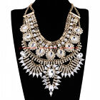 Fashion Gold Chain White Crystal Acrylic Choker Statement Pendant Bib Necklace