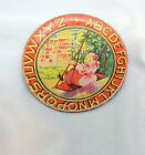 1920's Ohio Art  Rare - ABC 3 1/2 in. Tin Plate w/ Girl On A Swing
