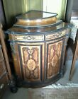 56554 VICTORIAN INLAID EBONIZED AND ROSEWOOD MARQUETRY CORNER CABINET