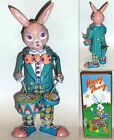 Happy Bunny Rabbit Drummer MS298 Retro Clockwork Wind Up Tin Toy w/Box
