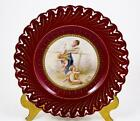 Vintage Antique Lady & Cherubs Group Portrait Plate Hand Painted Reticulated