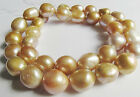 HUGE 12-13MM NATURAL SOUTH SEA GENUINE GOLD CHAMPAGNE PEARL NECKLACE GOOD LUSTER