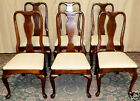 VINTAGE Ethan Allen Cherry Georgian Court Queen Anne Style Dining Chairs,Set/ 6