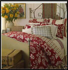 Chaps FRENCH RIVIERA Reversible Comforter Set - RED Tan Floral Stripe QUEEN NEW