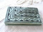Antique Vintage Beaded SAGE GREEN Purse Clutch Bag 1920's-30's + MIRROR + POUCH
